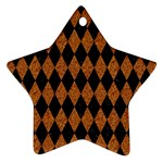 DIAMOND1 BLACK MARBLE & RUSTED METAL Star Ornament (Two Sides) Back