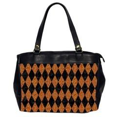 Diamond1 Black Marble & Rusted Metal Office Handbags (2 Sides)