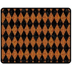 Diamond1 Black Marble & Rusted Metal Fleece Blanket (medium)