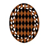 DIAMOND1 BLACK MARBLE & RUSTED METAL Oval Filigree Ornament (Two Sides) Front
