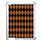DIAMOND1 BLACK MARBLE & RUSTED METAL Apple iPad 3/4 Case (White) Front