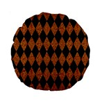 DIAMOND1 BLACK MARBLE & RUSTED METAL Standard 15  Premium Round Cushions Front