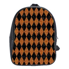 Diamond1 Black Marble & Rusted Metal School Bag (xl)