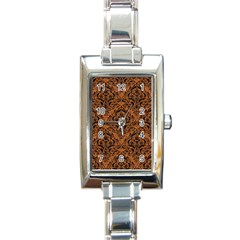 Damask1 Black Marble & Rusted Metal Rectangle Italian Charm Watch