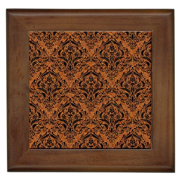 DAMASK1 BLACK MARBLE & RUSTED METAL Framed Tiles