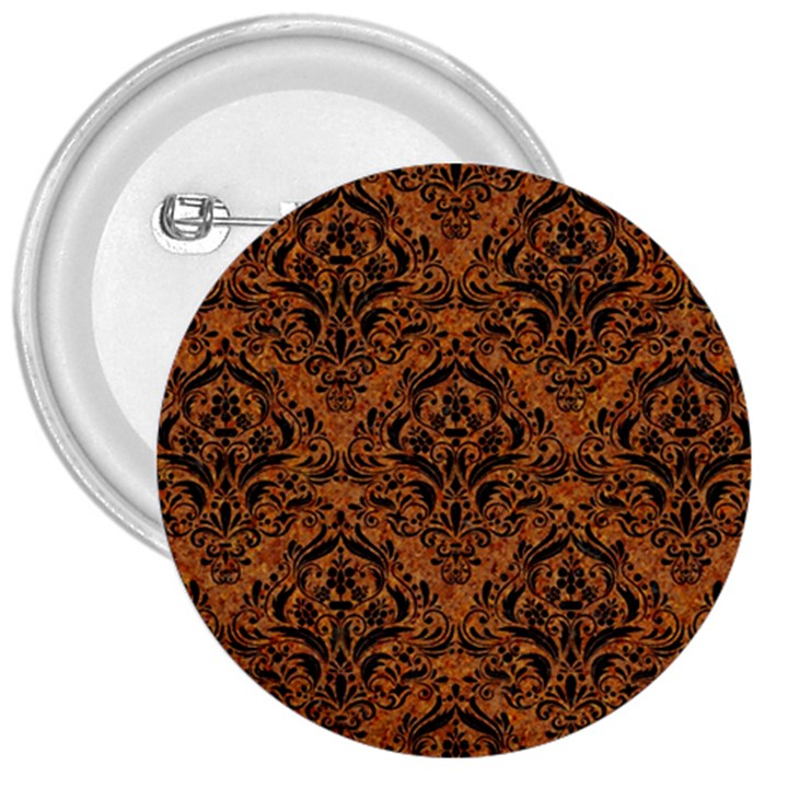 DAMASK1 BLACK MARBLE & RUSTED METAL 3  Buttons