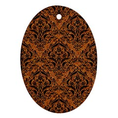 Damask1 Black Marble & Rusted Metal Ornament (oval)
