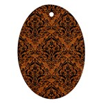 DAMASK1 BLACK MARBLE & RUSTED METAL Ornament (Oval) Front