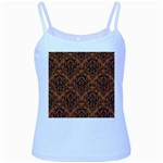 DAMASK1 BLACK MARBLE & RUSTED METAL Baby Blue Spaghetti Tank Front