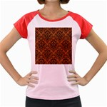 DAMASK1 BLACK MARBLE & RUSTED METAL Women s Cap Sleeve T-Shirt Front