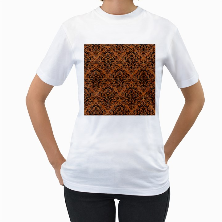 DAMASK1 BLACK MARBLE & RUSTED METAL Women s T-Shirt (White) (Two Sided)