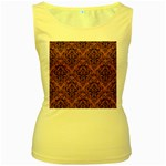 DAMASK1 BLACK MARBLE & RUSTED METAL Women s Yellow Tank Top Front