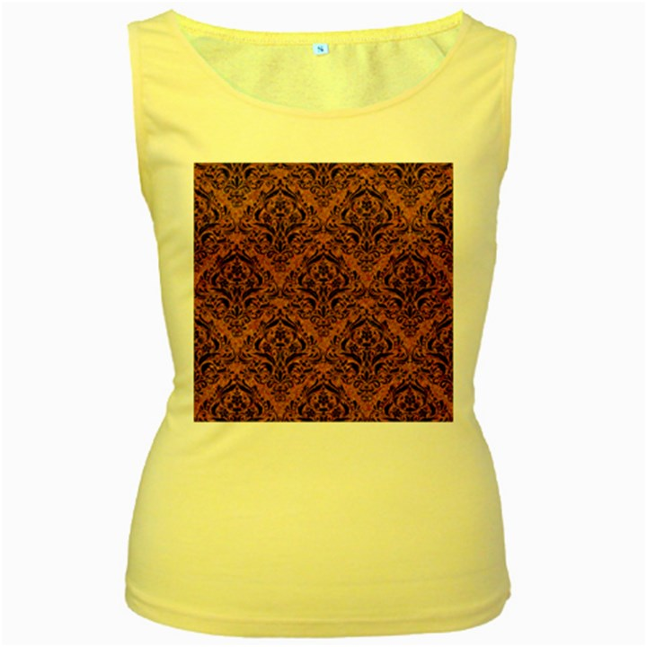 DAMASK1 BLACK MARBLE & RUSTED METAL Women s Yellow Tank Top
