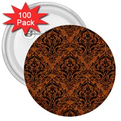 Damask1 Black Marble & Rusted Metal 3  Buttons (100 Pack)