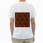 DAMASK1 BLACK MARBLE & RUSTED METAL Men s T-Shirt (White) (Two Sided) Back