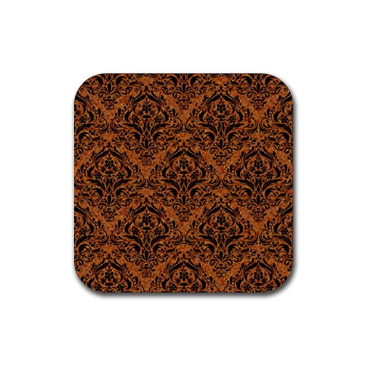 DAMASK1 BLACK MARBLE & RUSTED METAL Rubber Coaster (Square)