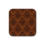 DAMASK1 BLACK MARBLE & RUSTED METAL Rubber Square Coaster (4 pack)  Front