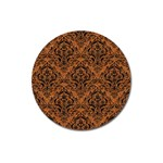 DAMASK1 BLACK MARBLE & RUSTED METAL Magnet 3  (Round) Front