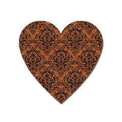 Damask1 Black Marble & Rusted Metal Heart Magnet