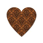 DAMASK1 BLACK MARBLE & RUSTED METAL Heart Magnet Front