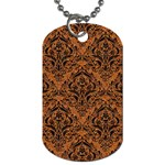 DAMASK1 BLACK MARBLE & RUSTED METAL Dog Tag (One Side) Front