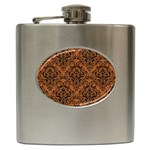 DAMASK1 BLACK MARBLE & RUSTED METAL Hip Flask (6 oz) Front