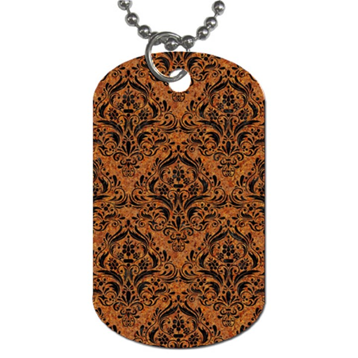 DAMASK1 BLACK MARBLE & RUSTED METAL Dog Tag (Two Sides)