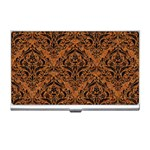 DAMASK1 BLACK MARBLE & RUSTED METAL Business Card Holders Front