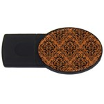 DAMASK1 BLACK MARBLE & RUSTED METAL USB Flash Drive Oval (2 GB) Front
