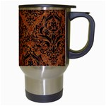 DAMASK1 BLACK MARBLE & RUSTED METAL Travel Mugs (White) Right