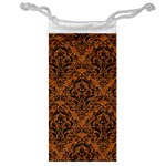 DAMASK1 BLACK MARBLE & RUSTED METAL Jewelry Bag Front