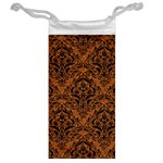 DAMASK1 BLACK MARBLE & RUSTED METAL Jewelry Bag Back