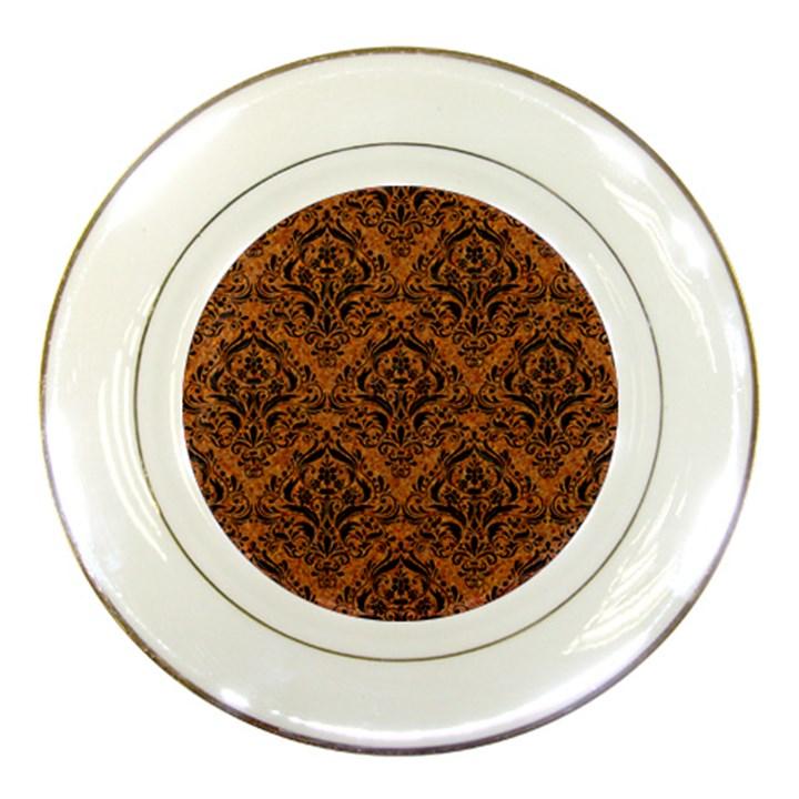 DAMASK1 BLACK MARBLE & RUSTED METAL Porcelain Plates