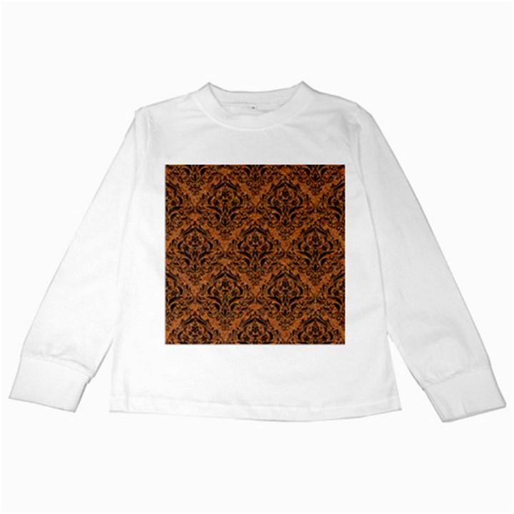 DAMASK1 BLACK MARBLE & RUSTED METAL Kids Long Sleeve T-Shirts