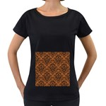 DAMASK1 BLACK MARBLE & RUSTED METAL Women s Loose-Fit T-Shirt (Black) Front