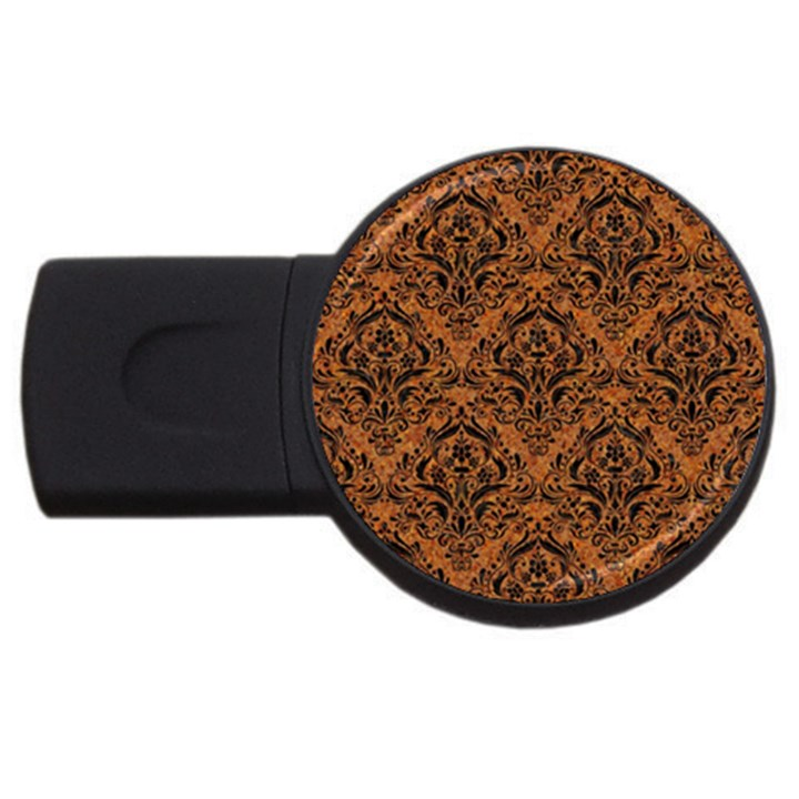 DAMASK1 BLACK MARBLE & RUSTED METAL USB Flash Drive Round (4 GB)