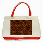 DAMASK1 BLACK MARBLE & RUSTED METAL Classic Tote Bag (Red) Front