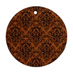 DAMASK1 BLACK MARBLE & RUSTED METAL Round Ornament (Two Sides) Front