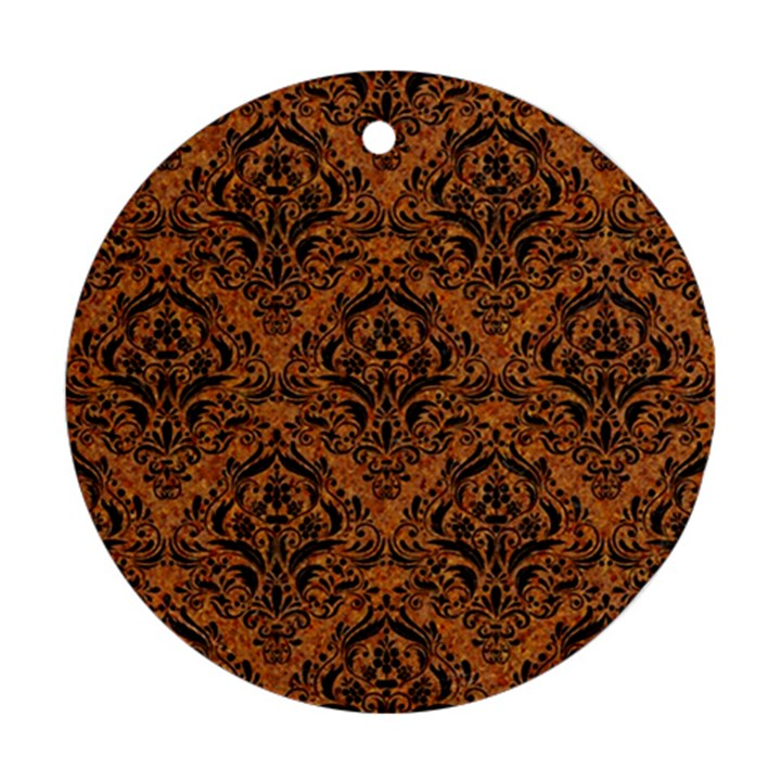 DAMASK1 BLACK MARBLE & RUSTED METAL Round Ornament (Two Sides)