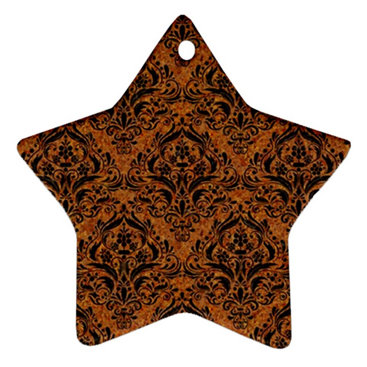 DAMASK1 BLACK MARBLE & RUSTED METAL Star Ornament (Two Sides)