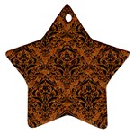 DAMASK1 BLACK MARBLE & RUSTED METAL Star Ornament (Two Sides) Back