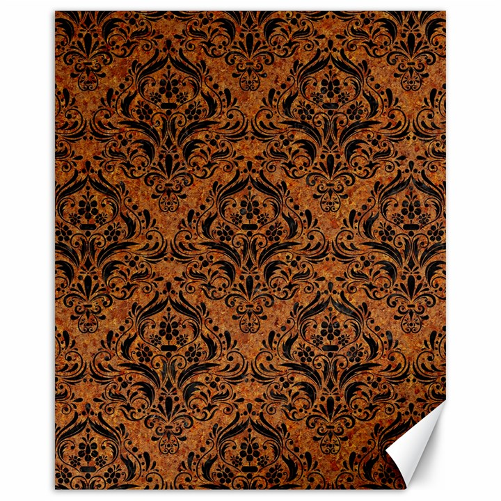 DAMASK1 BLACK MARBLE & RUSTED METAL Canvas 16  x 20