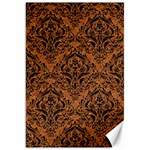 DAMASK1 BLACK MARBLE & RUSTED METAL Canvas 20  x 30   30 x20 Canvas - 1