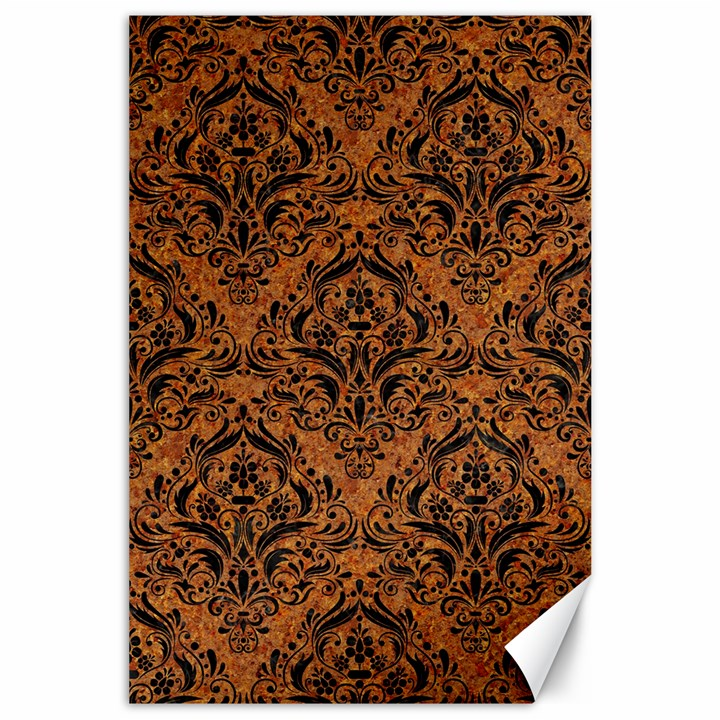 DAMASK1 BLACK MARBLE & RUSTED METAL Canvas 24  x 36
