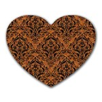 DAMASK1 BLACK MARBLE & RUSTED METAL Heart Mousepads Front