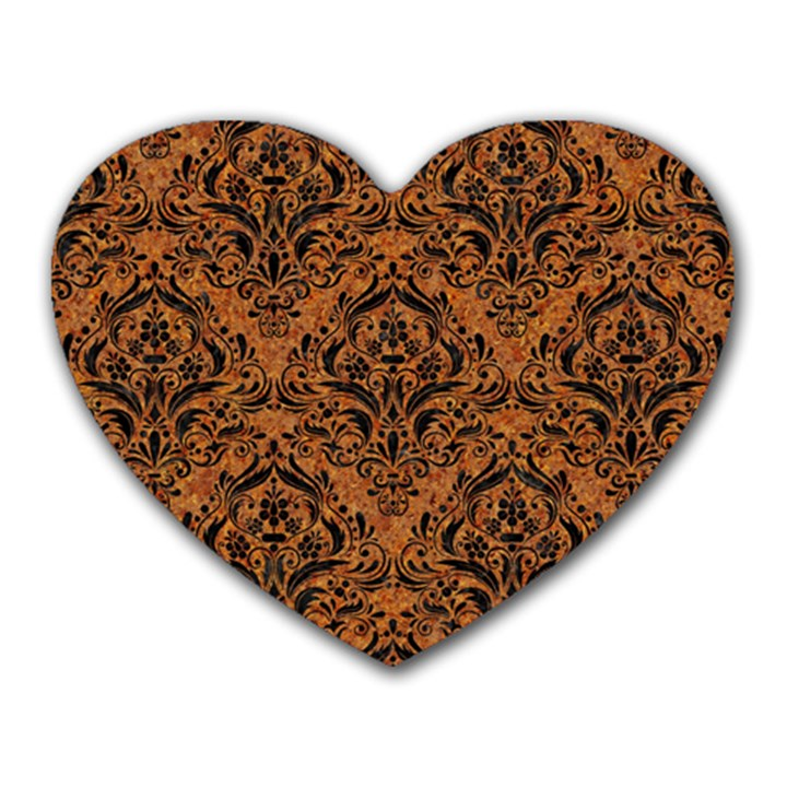 DAMASK1 BLACK MARBLE & RUSTED METAL Heart Mousepads