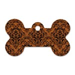 DAMASK1 BLACK MARBLE & RUSTED METAL Dog Tag Bone (Two Sides) Front