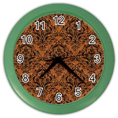 Damask1 Black Marble & Rusted Metal Color Wall Clocks