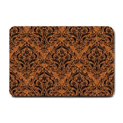 Damask1 Black Marble & Rusted Metal Small Doormat
