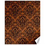 DAMASK1 BLACK MARBLE & RUSTED METAL Canvas 11  x 14   14 x11 Canvas - 1